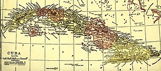 Oriente Province - Cuba's provinces as shown on a 1910s map