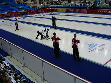 Curling was promoted to official Olympic sport at the Nagano 1998 Winter Olympics. Curling Torino 2006 Pinerolo Palaghiaccio scena1.jpg