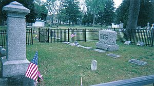 Boston Custer - Boston Custer's headstone (on the far left) at the Woodland Cemetery in Monroe, Michigan.