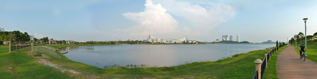 Panorama of Putrajaya from Cyberjaya Lake Gardens in February 2011.