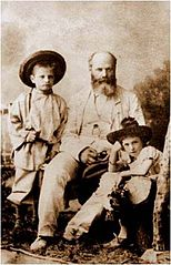 D. Jermakov's Father - well-known architect Ludvig Kambiajio (Tiflis, 1886) with her grandsons.jpg