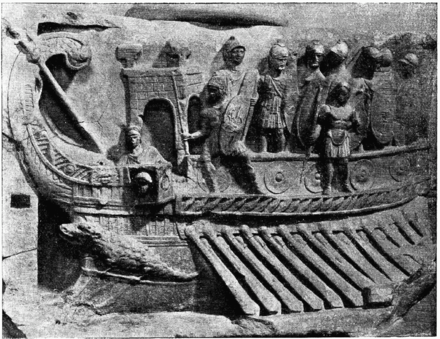 A Roman naval bireme depicted in a relief from the Temple of Fortuna Primigenia in Praeneste, c. 120 BC; now in the Museo Pio-Clementino in the Vatican Museums D473-bireme romaine-Liv2-ch10.png