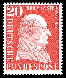 Sonderbriefmarke 1957 zum 200. Geburtstag Freiherr vom und zum Stein (Quelle: Wikimedia)