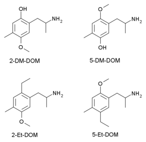 2,5-Dimethoxy-4-methylamphetamine - Image: DOM 25 varients