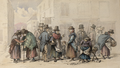 Pwllheli Market in Wales, watercolour by Frances Elizabeth Wynne, c. 1866