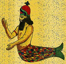 a mer-man with a fish hat