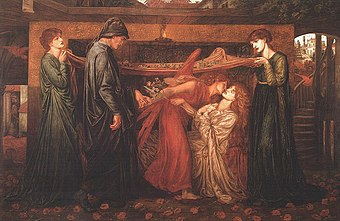 Dante Gabriel Rossetti - Dante's Dream at the Time of the Death of Beatrice (1871).jpg