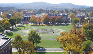 The Green (Dartmouth College) - View of the Green looking south from the tower of Baker Memorial Library, shortly after the annual Homecoming bonfire. The Hopkins Center for the Arts (left) and the Hanover Inn (right) are visible on the opposite side.