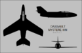 Dassault Mystere IIIN three-view silhouette.png