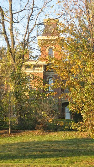 National Register of Historic Places listings in Owen County, Indiana - Image: David Enoch Beem House through trees