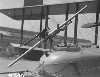 Recoilless rifle - 1.57-inch Davis recoilless gun mounted in the nose of a F5L flying boat, with a coaxial Lewis machine gun. Photo from circa 1918.