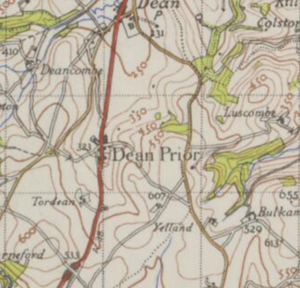 Dean Prior - Ordnance Survey map showing Dean Prior