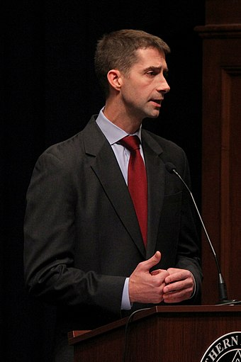 Cotton participating in a 2012 congressional debate at Southern Arkansas University Debate 10.4.12 (8070720129).jpg