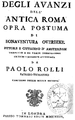 Degli avanzi dell'Antica Roma Bonaventura van Overbeek translated into Italian by Paolo Rolli.png