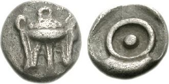 Delphi - Coin (obol) struck at Delphi, 480 BC. Obverse: Short tripod. Reverse: Pellet within circle (omphalos or phiale).