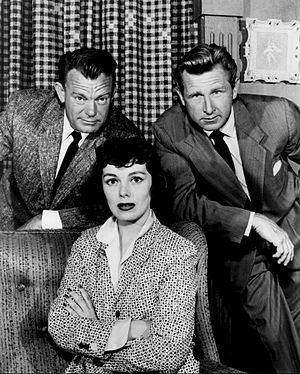 "Climax! - Dennis O'Keefe, Phyllis Kirk, and Lloyd Bridges in ""Edge of Terror"", 1955."