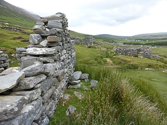 Achill Island - View of the deserted village from beside the ruins of the one of the houses