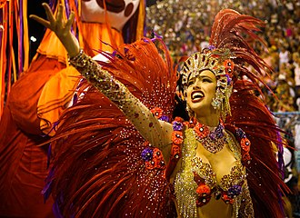 Rio Carnival - A typical performer of Samba dance.
