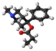 Ball-and-stick model of desmethylprodine