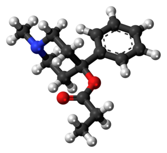 Desmethylprodine - Image: Desmethylprodine molecule ball