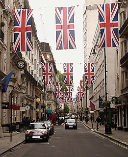 Jermyn Street street in the St Jamess area of the City of Westminster in London