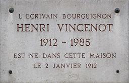Dijon plaque commémorative maison natale Henri VINCENOT