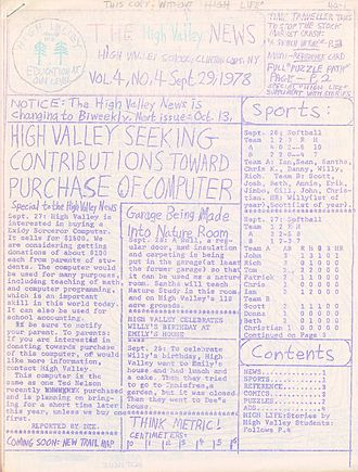 Spirit duplicator - A school newspaper published using a ditto machine in 1978