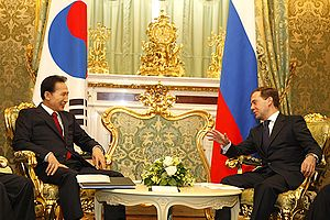 Foreign relations of South Korea - Dmitry Medvedev meeting Lee Myung-bak at The Kremlin.