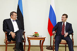 Estonia–Russia relations - Russian President Dmitry Medvedev and Estonian President Toomas Hendrik Ilves met in Khanty-Mansiysk on 28 June 2008.