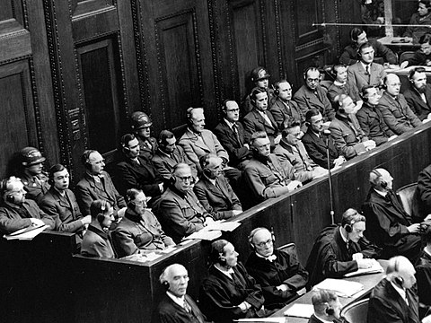 The 23 defendants during the Doctors' trial, Nuremberg, 9 December 1946 - 20 August 1947 Doctors' trial, Nuremberg, 1946-1947.jpg