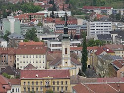 Downtown Evangelical Church Miskolc from Avas.jpg
