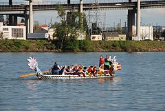 Dragon boat crew practicing a few weeks before the start of the Rose Festival