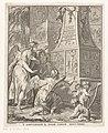 Drie engelen bewonderen een obelisk met scènes uit het Nieuwe Testament 'T leven van onzen heiland in-een-getrokken uit een nieuwe overeenstemming der vier evangelisten (titel op object) Titelpagina voor Lambert ten Ka, RP-P-2016-956.jpg