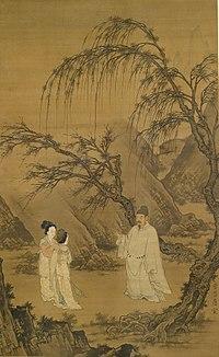 Du Jin - Wang Xianzhi (Wang Hsien-Chih) and Two Wives Among Willows and Rocks - Walters 355.jpg