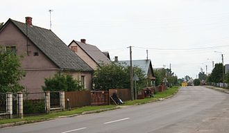 Ribbon development - Polish village Dubiny, example of an old ribbon village