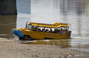 A US DUK-W amphibious assault vehicle converted for tourist use in London.