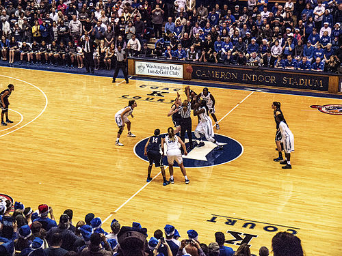 Tip off of a Duke women's basketball game in Cameron Indoor Stadium Duke women's basketball 12172013.jpg
