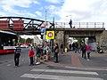 Dukelských hrdinů, železniční most, průvod tramvají 2015.jpg