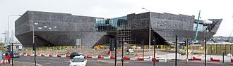 V&A Dundee under construction in April 2017 Dundee Waterfront Redevelopment Apr 2017 a (V and A Museum).jpg