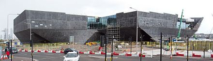 V&A Dundee under construction in April 2017. Dundee Waterfront Redevelopment Apr 2017 a (V and A Museum).jpg