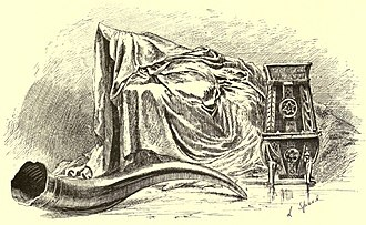 Fairy Flag - 19th century engraving of the Fairy Flag, Sir Rory Mor's Horn, and the Dunvegan Cup.
