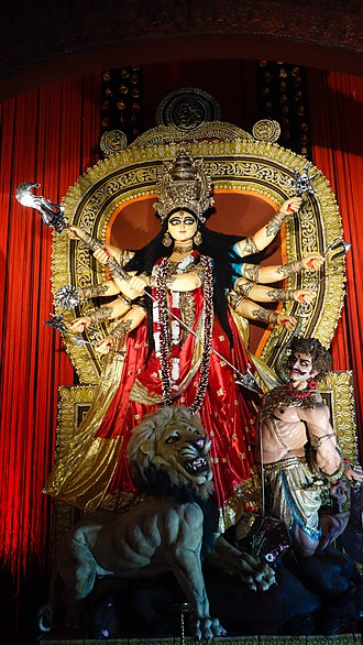 Durga - An image of Maa Durga on display during Durga Puja in Kolkata