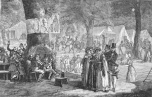 Hans Peter Hansen - The Jews under a tree at Dyrehavsbakken in Copenhagen. Xylography by H.P. Hansen for Illustreret Tidende No. 1108, 19. December 1880, p. 157.