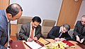 E.M.S. Natchiappan and the Minister of Ecology and Natural Resources, Azerbaijan, Mr. Huseyngulu Bagirov signing a protocol after the 3rd India-Azerbaijan Inter Governmental Commission Meeting on Trade and Economic.jpg