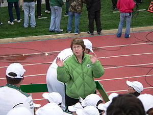 Susan Martin - Martin on the marching band platform at a 2010 football game