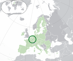 Location of  Luxembourg  (dark green)– in Europe  (green & dark grey)– in the European Union  (green)  —  [Legend]
