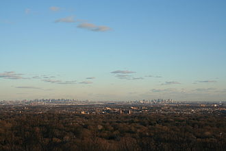 Montclair, New Jersey - Skyline of New York City from Montclair at the start of the Watchung Mountains