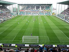 Easter Road, the home ground for Hibernian F.C., as seen in 2010. Image: Jeff Winter.