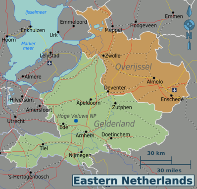 Map of Eastern Netherlands
