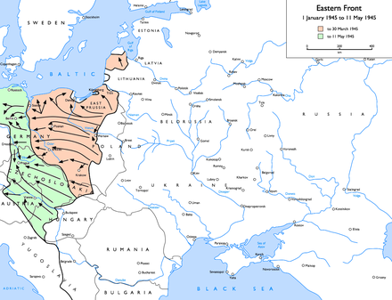 Soviet advances from 1 January 1945 to 11 May 1945: to 30 March 1945 to 11 May 1945 Eastern Front 1945-01 to 1945-05.png